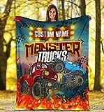 VikingsBrand Personalized Name, Custom Name Monster Truck Blanket for Kids, Kids Bedding Fleece Blanket, Boys & Girls Throw (Monster Truck-RB, Youth (40 x 30 inches / 102 x 76 cm))