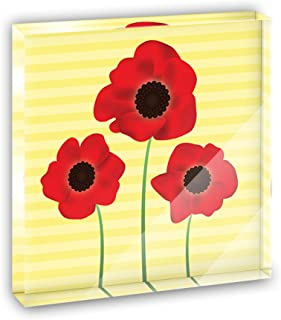 Red Poppies Flower Acrylic Office Mini Desk Plaque Ornament Paperweight