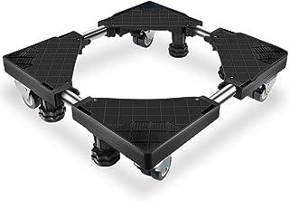 洗濯機 台 Lifinsky 冷蔵庫置き台 キャスター付 かさ上げ 移動式 昇降可能 幅/奥行46.5~68cm 減音効果 防振パッド付き ブラック
