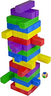 CoolToys Timber Tower Wooden Block Stacking Game – Color Match Playset (60 Pieces)