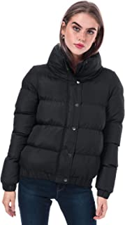 Brave Soul Womens Slay Padded Funnel Neck Jacket in Black.