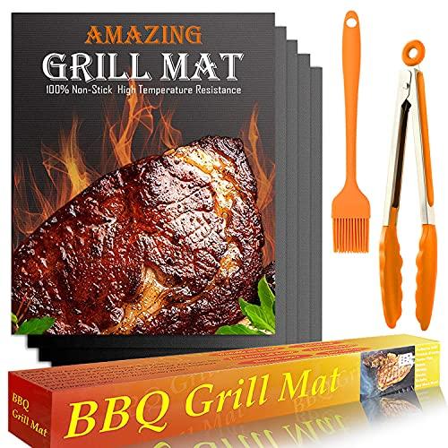 YOFIG BBQ Grillmatte, 5er Set Grillmatten für Gasgrill, BBQ Grillplattel und Backmatte, Teflon Antihaft Wiederverwendbar - Perfekt für Fleisch, Fisch und Gemüse 40 * 33cm, PFOA-Frei Grillpapier Grill