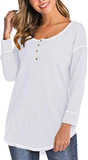 Miracle Womens Fashion Knit Tunic Tops Loose Long Sleeve Button Up V Neck Henley Tee