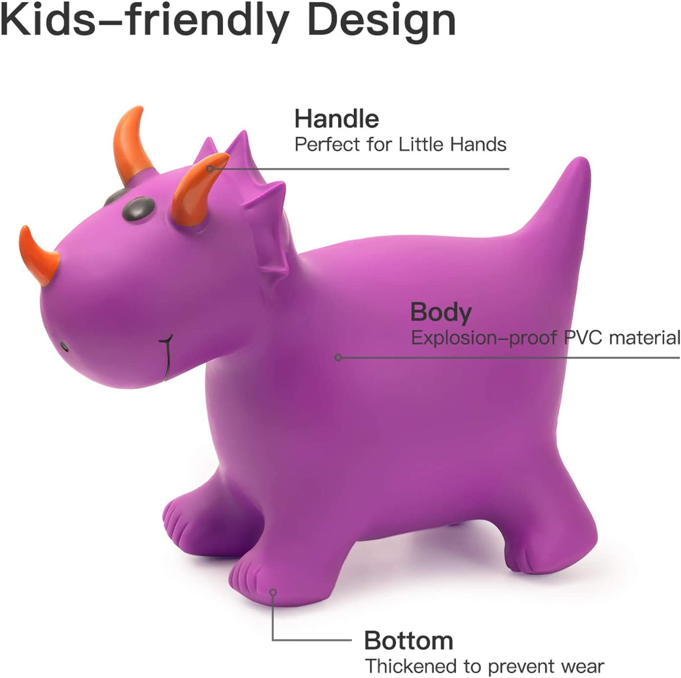 Triceratops Purple with Pump Inflatable Ride On Toys for Kids Toddlers ROBUD Dinosaur Bouncy Horse Hopper