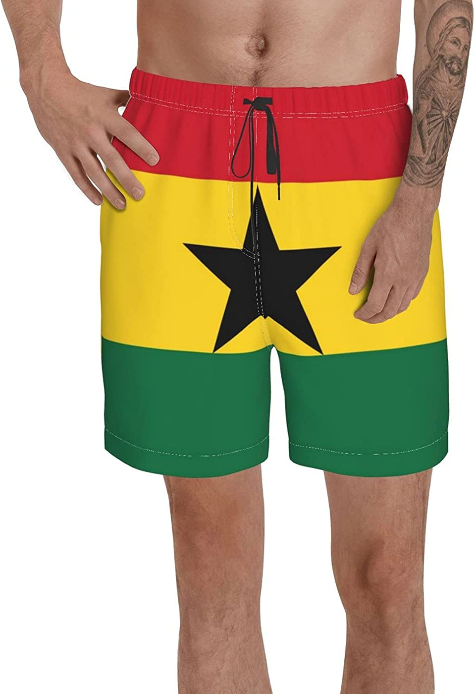 Count Ghana Flag Men's 3D Printed Funny Summer Quick Dry Swim Short Board Shorts with
