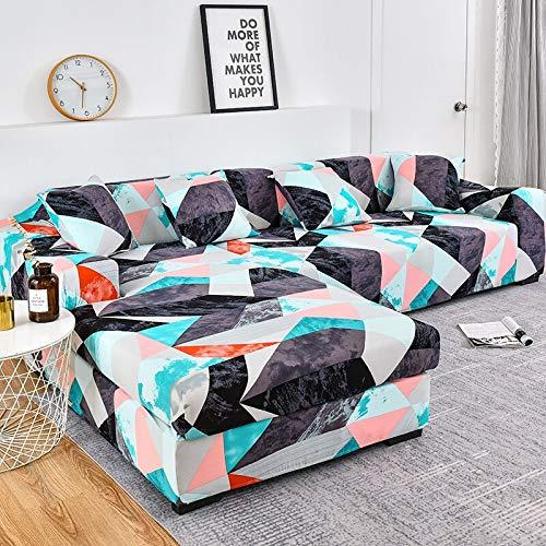 WXQY Patrón geométrico Fundas elásticas Funda de sofá elástica Funda de sofá de protección para Mascotas Esquina en Forma de L Funda de sofá Antideslizante A4 2 plazas