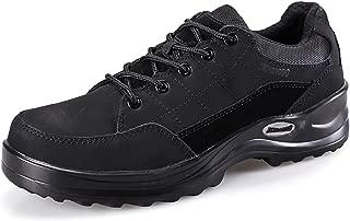JACKBAGGIO Men's Cow Leather Running Lightweight Steel Toe Training Work Shoe 1109