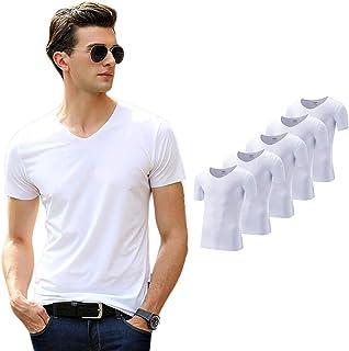 インナーシャツ メンズ 半袖 5枚組 Vネック シームレス 切りっぱなし Tシャツ 抗菌防臭 速乾 肌着 M~5XLサイズ