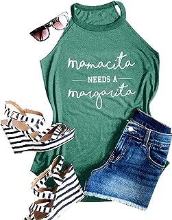 Womens Mamacita Needs A Margarita Tank Tops Casual Sleeveless Funny Tshirt Vest Tee