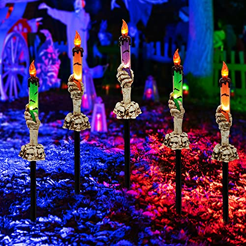 Twinkle Star Halloween Decorations, 5 Pack Skeleton Hands Hold Lighted Candle Stakes, Waterproof...