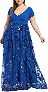 Women Dresses ESAILQ Plus Size Floral Printed Boho Beach Sundress V-Neck Short Sleeve Sequined Evening Party Mesh Dress
