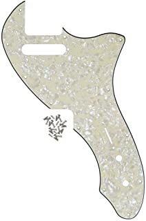 IKN Tele Thinline Pickguard Guitar Pick Guard Plate with Screws Fit 69 Telecaster Thinline Re-issue Guitar Part, 4Ply Aged Pearl