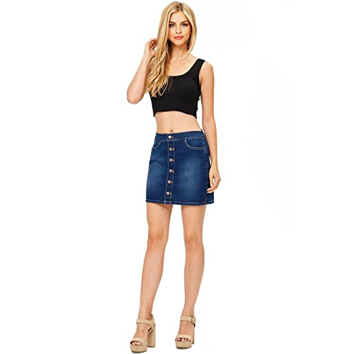 71dcaadcec1 Wax Women s Juniors Cute Button Down Denim Mini Skirt