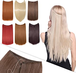 Hairro Hidden Crown Hair Extensions 20 Inch Secret Rubber Band Miracle Wire Synthetic Hairpieces 3/4 Full Head No Clips No...