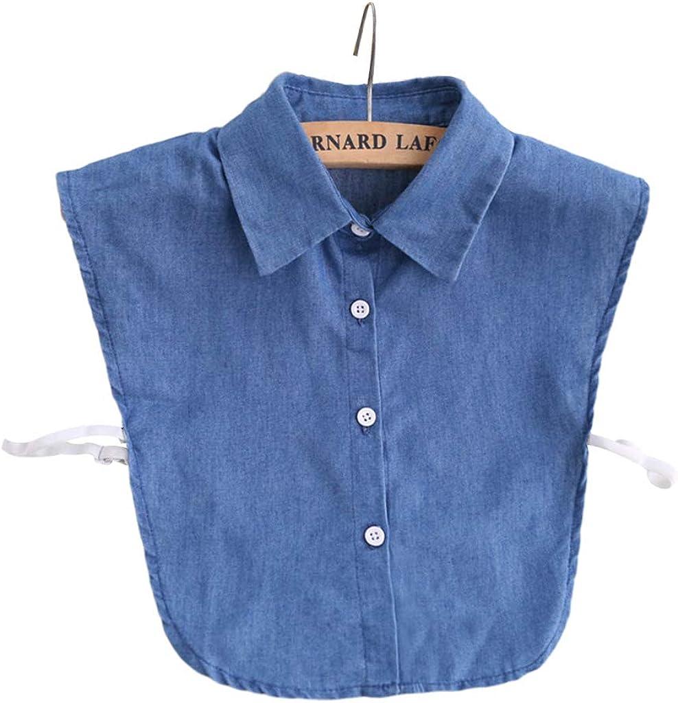 YOUSIKE Neck Chain, Women Girls Denim Fabric Detachable Half-Shirt Blouse Solid Color Lapel False Fake Collar Adjustable Clothes Sweater Accessories