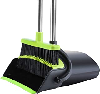 Broom and Dustpan [2019 Version] Dust pan Broom Set with Upgrade Combo and Sturdiest Extendable Long Handle,4 Layers Bristles,Upright Standing for Home, Office, Kitchen, Lobby (Black+Green)