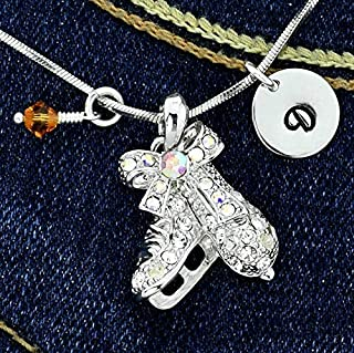 Figure Ice Skates Necklace Personalized Pendant Hand Stamped Initial Letter Charm Sparkling Crystals Birthstone Charm Chain Custom Gift
