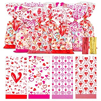 Whaline Valentine Cellophane Bags 150 Pieces Candy Treat Bags with 150 Twist Ties Valentines Goodie Bags Plastic Clear Cello Bags Party Favor Gifts Bags 4 Styles  5 x 11 inches