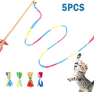 Interactive Cat Toys Rainbow Cat Charmer with Bell,  Replaceable Wood Cat Wand with 5PCS Colorful Fabric Ribbon Refills,  Safe Cat Catcher Teaser Stick Toy for Kittens Training Pets Exerciser