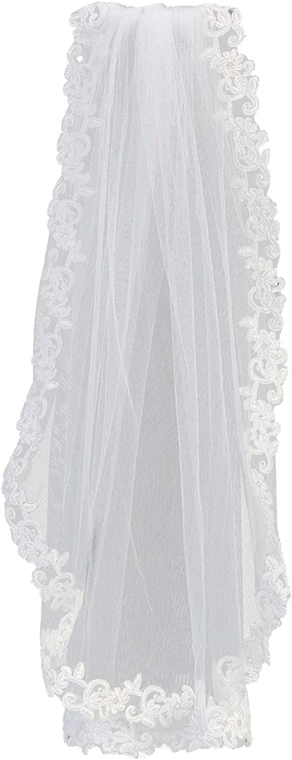 Swea Pea & Lilli Girls First Communion Veil - White Holy 1st Communion Headpiece with Comb, Corded Lace Trim, and Rhinestone Accents