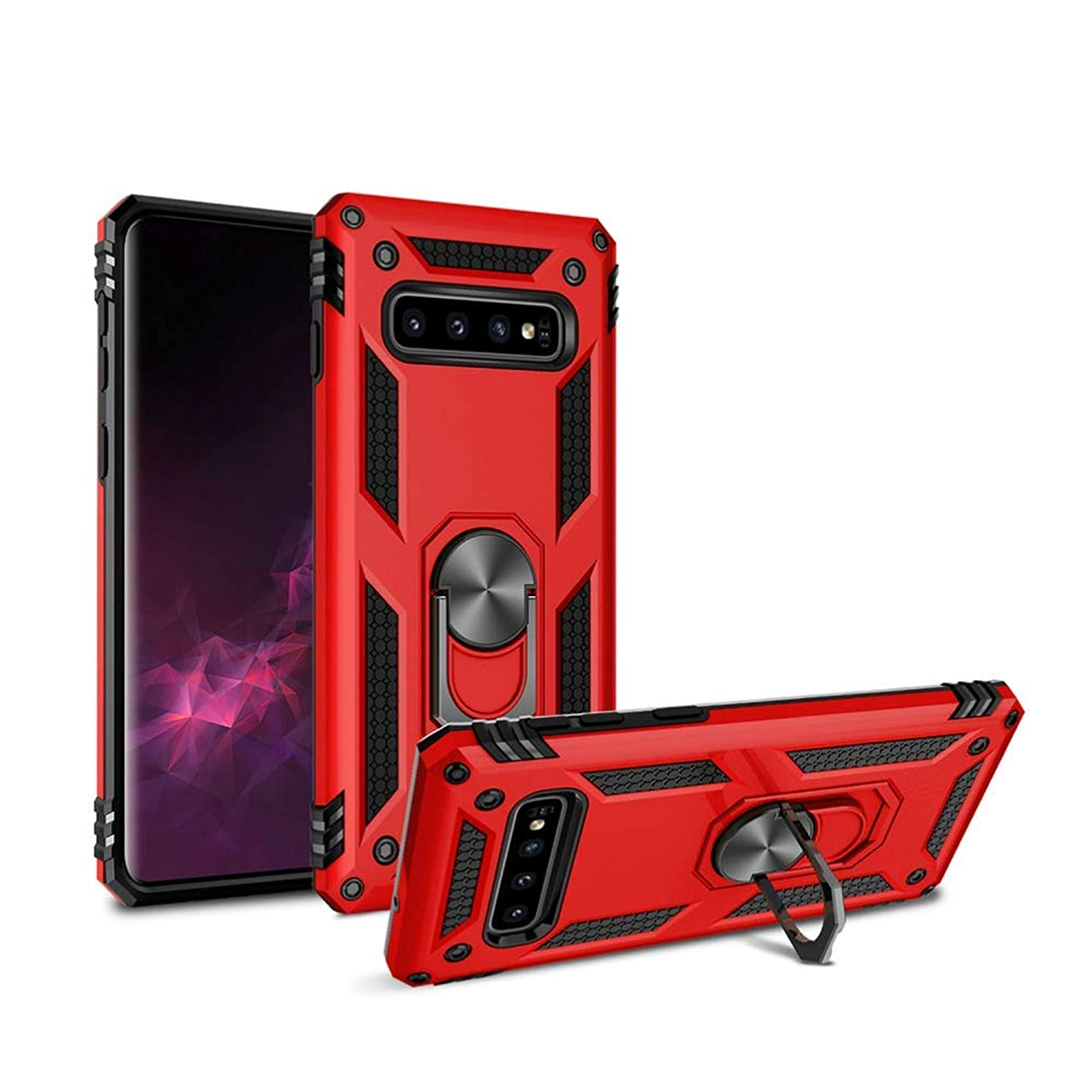 Heavy Duty Shockproof Case for Galaxy S10,360-Degree Swivel Ring Stand,Car Magnetic Adsorption,Hard PC Back Cover [Military Grade Drop Test] Compatible with Samsung Galaxy S10 (Red)