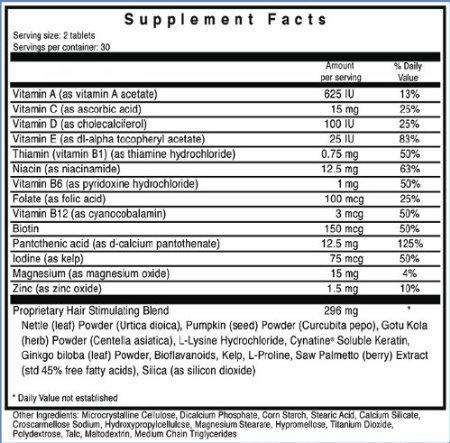 Ultrax Labs Hair Rush | Maxx Hair Growth & Anti Hair Loss Nutrient Solubilized Keratin Vitamin Supplement, 60 tablets.