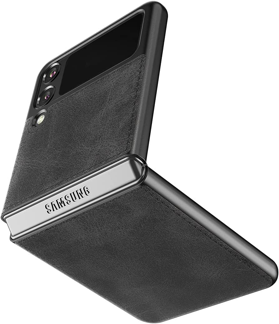 Cresee Case for Samsung Galaxy Z Flip 3 5G (2021), PU Leather Back Cover Hard PC Protective Shell Slim Fit Phone Case for Galaxy Z Flip3 - Black