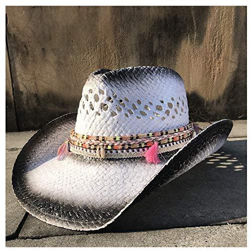 JDDR Hut & Caps, handgefertigter Strohhut Westernhut Cowboyhut Sommer Damen Herren Cowgirl Fedora Jazz Hut Strand Sombrero Hombre Rettungsschwimmer Sonnenhut Quaste Band, 5, 55-58 cm