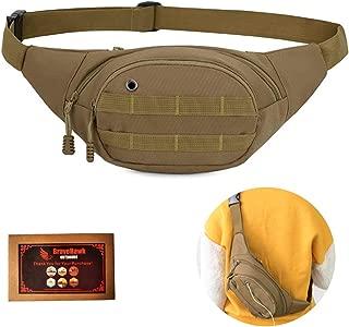 BraveHawkOutdoors Tactical Waist Bag, 900D Nylon Oxford Water-Resistant Outdoor EDC Fanny Pack Utility Waist Pouch Outdoor Bumbag (Khaki)