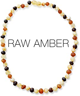 Meraki Adult Amber Necklace - Raw Unpolished Baroque Baltic Amber Necklace | All Natural Pain Relief for Adults to Help Migraines, Sinuses, Arthritis and More | Multi Color (18 Inches)