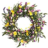 Decor Wreath,24' Daisy and Lavender Wreath,Beautiful Artificial Spring and Summer Wreath Front Door or Home Decoration