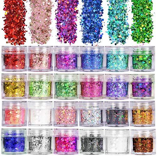 ANDERK Purpurina para Uñas Purpurinas Polvo Purpurina para el Rostro, 24 Colores Chunky Glitter Brillantes para Uñas en Formas, para Decoraciones en Arte de Uñas y Purpurina Maquillaje y Artesanía