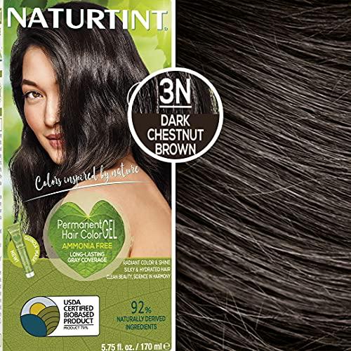 Naturtint Permanent Hair Color 3N Dark Chestnut Brown (Pack of 6), Ammonia Free, Vegan, Cruelty...