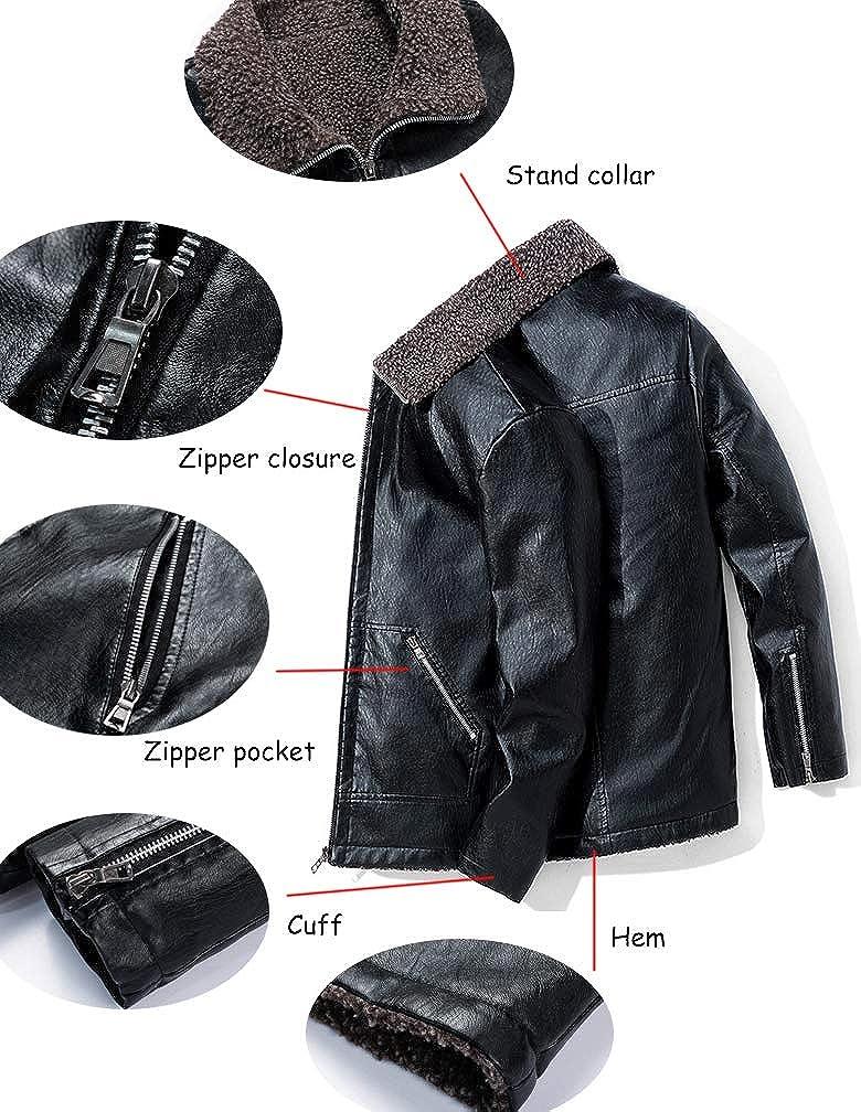 Lavnis Men's Leather Fleece Jacket Mid Long PU Faux Leather Motorcycle Coat Winter Warm Trench Overcoat