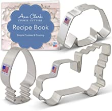 Ann Clark Cookie Cutters 3-Piece Christmas Trends Cookie Cutter Set with Recipe Booklet, Vintage Truck with Tree, Lightbul...