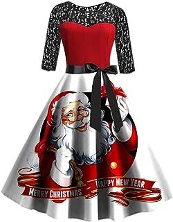 2019 Christmas Dress, Women's Fashion Christmas Print Dress O-Neck Zipper Pocket Hepburn Party Dress