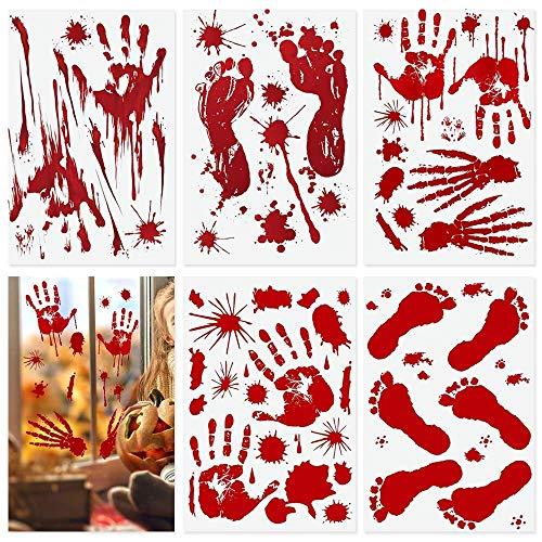 BUZIFU 10 Stück Halloween Sticker Aufkleber Halloween Schaurig Blutige Sticker blutigen Handabdrücken Realistischer Blut Fingerabdrücke Blutflecken Fenster Sticker für Halloween Party Dekorationen