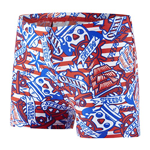 Speedo Space Traveller Essential Allover Bañador, Niños, Rojo (Risk Red/Beautiful Blue/White), 5 Años