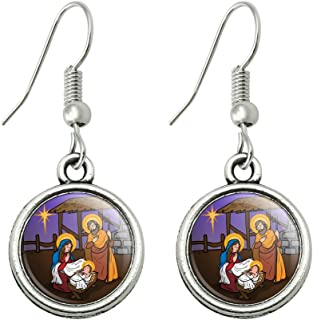 Nativity Scene Baby Jesus Mary Joseph Christmas Christian Bible Novelty Dangling Drop Charm Earrings