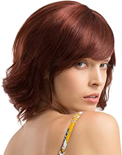 MagiDeal 12 inch Women Short Curly Wavy Wig Real Human Hair Side Bangs Wave Wig Wine Red