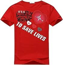 Jssmao White Print It's A Beautiful Day to Save Lives Logo Women's Classic T-Shirt