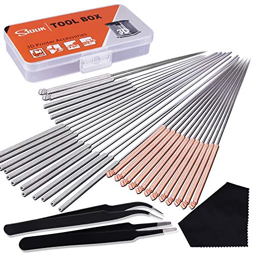 SIQUK 33 Pieces 3D Printer Nozzle Cleaning Kit including 30 Pcs Nozzle Cleaner 0.15mm, 0.25mm, 0.35mm, 0.4mm, 0.5mm Cleaning Needles for 3D Printer (Bonus: 2 Pcs Tweezers and 1 Pc Cleaning Cloth)