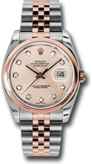 Rolex Oyster Perpetual Datejust 36mm Stainless Steel Case, 18K Pink Gold Domed Bezel, Pink Champagne Dial, Diamond Hour Markers, and Stainless Steel and 18K Pink Gold Jubilee Bracelet.