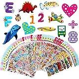 Vicloon Pegatinas para Niños 40 Hojas, 3D Stickers Acerca de 1000 Patrón, 3D Puffy Pegatinas Incluye Pegatinas Animales, Pegatinas Dinosaurios, Pegatinas Pescado, Pegatinas Frutas y Más