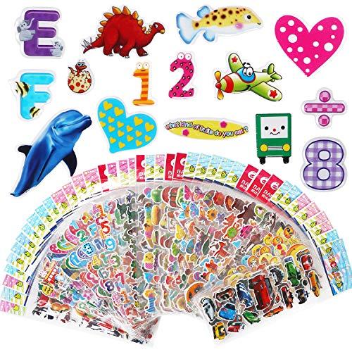 Vicloon 3D Aufkleber für Kinder 40 Blatt, 3D Sticker 1000+ Geschwollene Aufkleber für Scrapbooking Einschließlich, Including Alphabet Aufkleber, Fruchtaufkleber, Emoji Aufkleber und Mehr