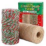 Elcoho 2 Rollen natürliche Weihnachtsschnur, Juteschnur für Geschenkverpackungen, Bastelarbeiten,...