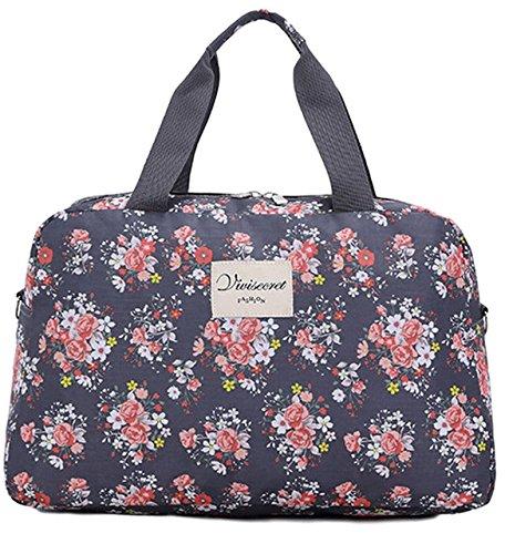 (アリルチョウ) ボストン バッグ かわいい 大容量 花柄 軽量 トラベル 旅行 バック 鞄 レディース 灰 色 グレー ミドル サイズ