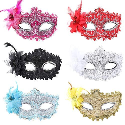 YMHPRIDE 6 Stück Spitze Maskerade Halloween Maske Für Frauen Männer Paare Strass Party Maske Bunte Abend Prom Gras Party Maske