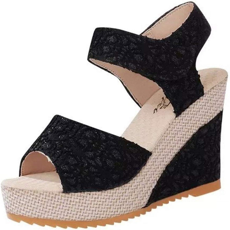 Summer High Heel Sandals Women's Velcro Roman shoes Slope Heel Open Toe Sandals (color   B, Size   6.0 US)