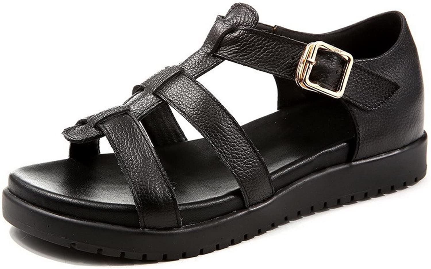 AmoonyFashion Women's Open-Toe Low-Heels Soft Leather Solid Buckle Sandals